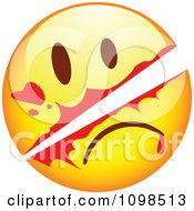 Clipart Slashed Yellow Cartoon Smiley Emoticon Face Royalty Free Vector Illustration