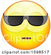 Clipart Cool Yellow Cartoon Smiley Emoticon Face Wearing Sunglasses 2 Royalty Free Vector Illustration