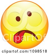 Clipart Sick Yellow Cartoon Smiley Emoticon Face Hanging Its Tongue Out 2 Royalty Free Vector Illustration