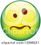 Clipart Sick Green Cartoon Smiley Emoticon Face Royalty Free Vector Illustration