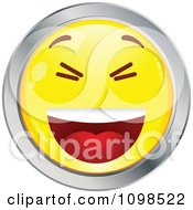 Clipart Laughing Yellow And Chrome Cartoon Smiley Emoticon Face 1 Royalty Free Vector Illustration