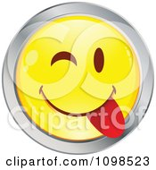 Clipart Yellow And Chrome Goofy Cartoon Smiley Emoticon Face 1 Royalty Free Vector Illustration