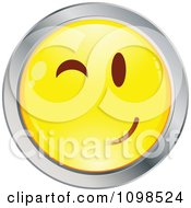 Clipart Flirty Winking Yellow And Chrome Cartoon Smiley Emoticon Face 1 Royalty Free Vector Illustration