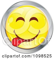 Clipart Yellow And Chrome Goofy Cartoon Smiley Emoticon Face 2 Royalty Free Vector Illustration