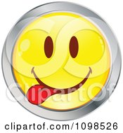 Clipart Yellow And Chrome Goofy Cartoon Smiley Emoticon Face 3 Royalty Free Vector Illustration