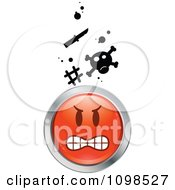 Clipart Red And Chrome Bully Cartoon Smiley Emoticon Face 1 Royalty Free Vector Illustration