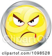 Yellow And Chrome Mean Cartoon Smiley Emoticon Face 1