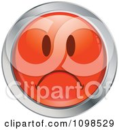 Red And Chrome Sad Cartoon Smiley Emoticon Face 1