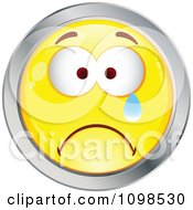 Crying Yellow And Chrome Cartoon Smiley Emoticon Face 3