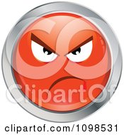 Clipart Red And Chrome Bully Cartoon Smiley Emoticon Face 2 Royalty Free Vector Illustration