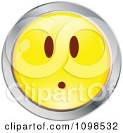Surprised Yellow And Chrome Cartoon Smiley Emoticon Face 1