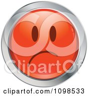 Red And Chrome Sad Cartoon Smiley Emoticon Face 2