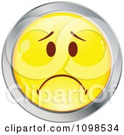 Yellow And Chrome Cartoon Smiley Emoticon Face Frowning 1