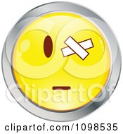 Yellow And Chrome Cartoon Smiley Emoticon Face With A Bandaged Eye