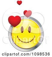 Yellow And Chrome Cartoon Smiley Love Emoticon Face