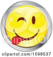 Clipart Yellow And Chrome Goofy Cartoon Smiley Emoticon Face 4 Royalty Free Vector Illustration