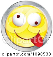 Clipart Yellow And Chrome Goofy Cartoon Smiley Emoticon Face 5 Royalty Free Vector Illustration