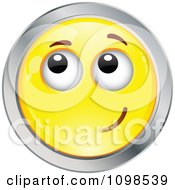 Yellow And Chrome Bashful Cartoon Smiley Emoticon Face 1