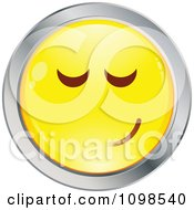 Yellow And Chrome Bashful Cartoon Smiley Emoticon Face 4