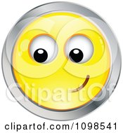 Yellow And Chrome Bashful Cartoon Smiley Emoticon Face 2