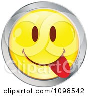 Clipart Yellow And Chrome Goofy Cartoon Smiley Emoticon Face 6 Royalty Free Vector Illustration