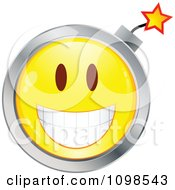 Yellow And Chrome Bomb Cartoon Smiley Emoticon Face