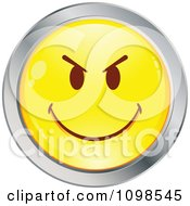 Yellow And Chrome Mean Cartoon Smiley Emoticon Face 3