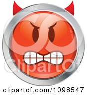 Clipart Red And Chrome Bully Devil Cartoon Smiley Emoticon Face Royalty Free Vector Illustration