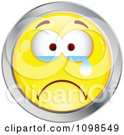 Crying Yellow And Chrome Cartoon Smiley Emoticon Face 1