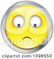 Yellow And Chrome Worried Cartoon Smiley Emoticon Face 2