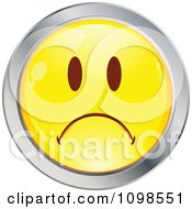 Yellow And Chrome Cartoon Smiley Emoticon Face Frowning 2