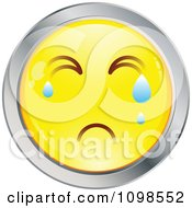 Crying Yellow And Chrome Cartoon Smiley Emoticon Face 2