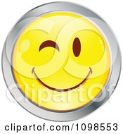 Flirty Winking Yellow And Chrome Cartoon Smiley Emoticon Face 2