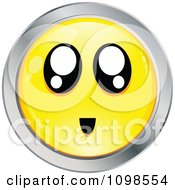 Surprised Yellow And Chrome Cartoon Smiley Emoticon Face 2