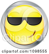 Cool Yellow And Chrome Cartoon Smiley Emoticon Face Wearing Sunglasses 1