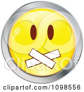 Yellow And Chrome Gagged Cartoon Smiley Emoticon Face