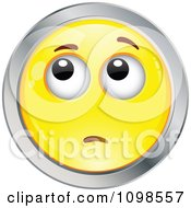 Yellow And Chrome Worried Cartoon Smiley Emoticon Face 3