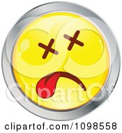 Clipart Dead Yellow And Chrome Cartoon Smiley Emoticon Face Royalty Free Vector Illustration
