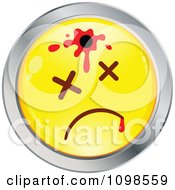 Clipart Shot Yellow And Chrome Cartoon Smiley Emoticon Face 1 Royalty Free Vector Illustration
