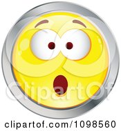 Surprised Yellow And Chrome Cartoon Smiley Emoticon Face 5