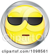 Cool Yellow And Chrome Cartoon Smiley Emoticon Face Wearing Sunglasses 2