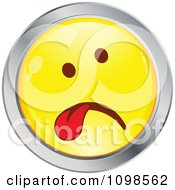 Sick Yellow And Chrome Cartoon Smiley Emoticon Face Hanging Its Tongue Out 1