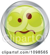 Clipart Sick Green And Chrome Cartoon Smiley Emoticon Face Royalty Free Vector Illustration