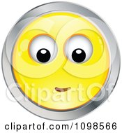 Yellow And Chrome Bashful Cartoon Smiley Emoticon Face 3
