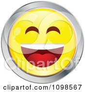 Laughing Yellow And Chrome Cartoon Smiley Emoticon Face 2