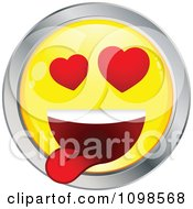 Yellow And Chrome Love Crazed Cartoon Smiley Emoticon Face