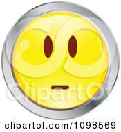 Straight Faced Yellow And Chrome Emoticon Smiley Face