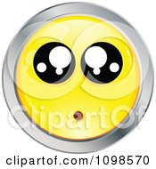 Surprised Yellow And Chrome Cartoon Smiley Emoticon Face 3