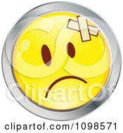 Yellow And Chrome Cartoon Smiley Emoticon Face With Bandages