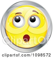 Surprised Yellow And Chrome Cartoon Smiley Emoticon Face 6